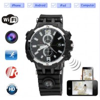 720P WiFi P2P Watch DVR Camera with 8GB Memory